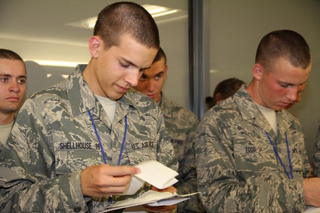 air force recruits open mail at bmt lackland afb
