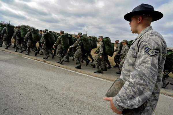 usaf ti marching his unit at bmt lackland afb