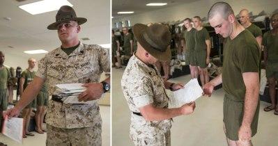 marine DI hands mail to recruit