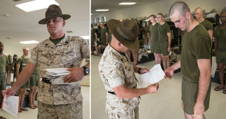 marine DI hands mail to recruit