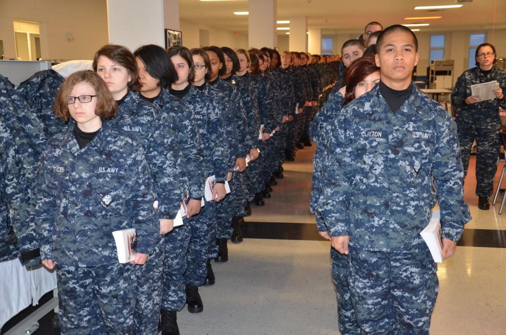 navy recruits at boot camp at rtc great lakes
