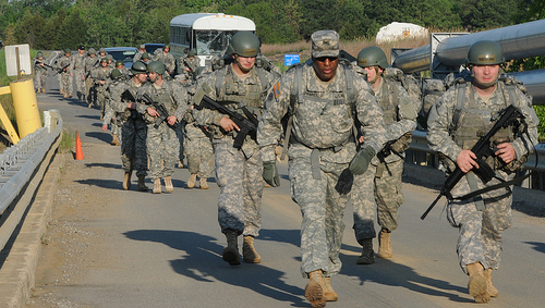 army basic training road march