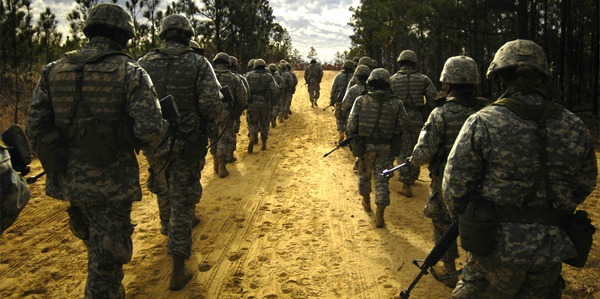 soldiers marching at basic training