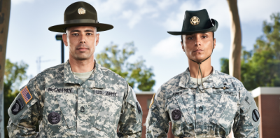 male and female army drill sergeants