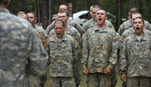 army basic training recruits yelling