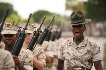 marine drill instructor leading