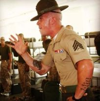 marine corps drill instructor in the squad bay