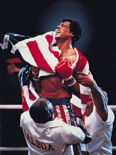rocky balboa draped in American flag