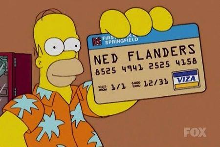 homer simpson with credit card