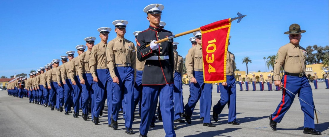 new marines pass in review at mcrd san diego
