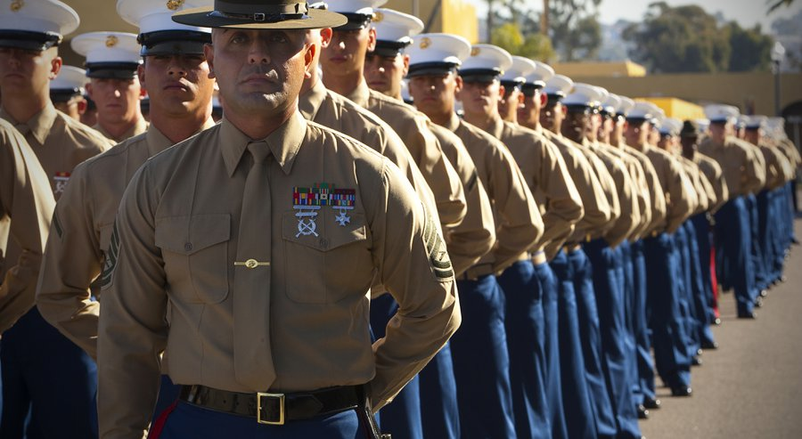 marine recruits at graduation marine corps recruit depot san diego california