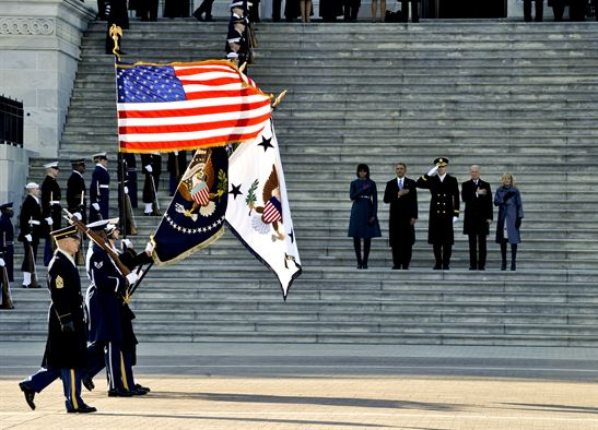 joint forces color guard passes the steps of the capitol