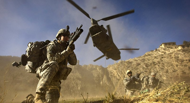 soldiers secure a helicopter landing zone