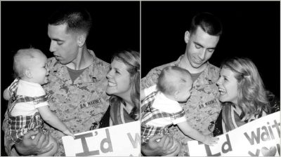 Returning from Afghanistan to greet my wife and 1-year old, six months before transitioning out of the service.